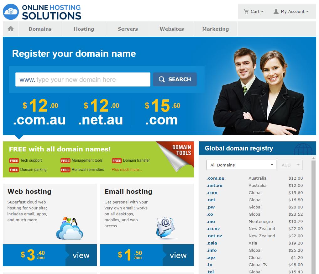 Online Hosting Solutions website