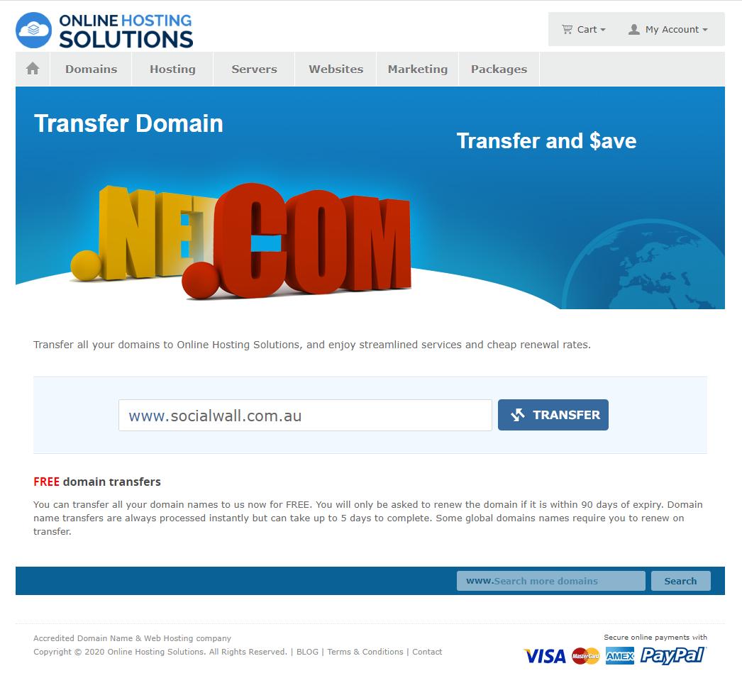 Online Hosting Solutions Domain Transfer